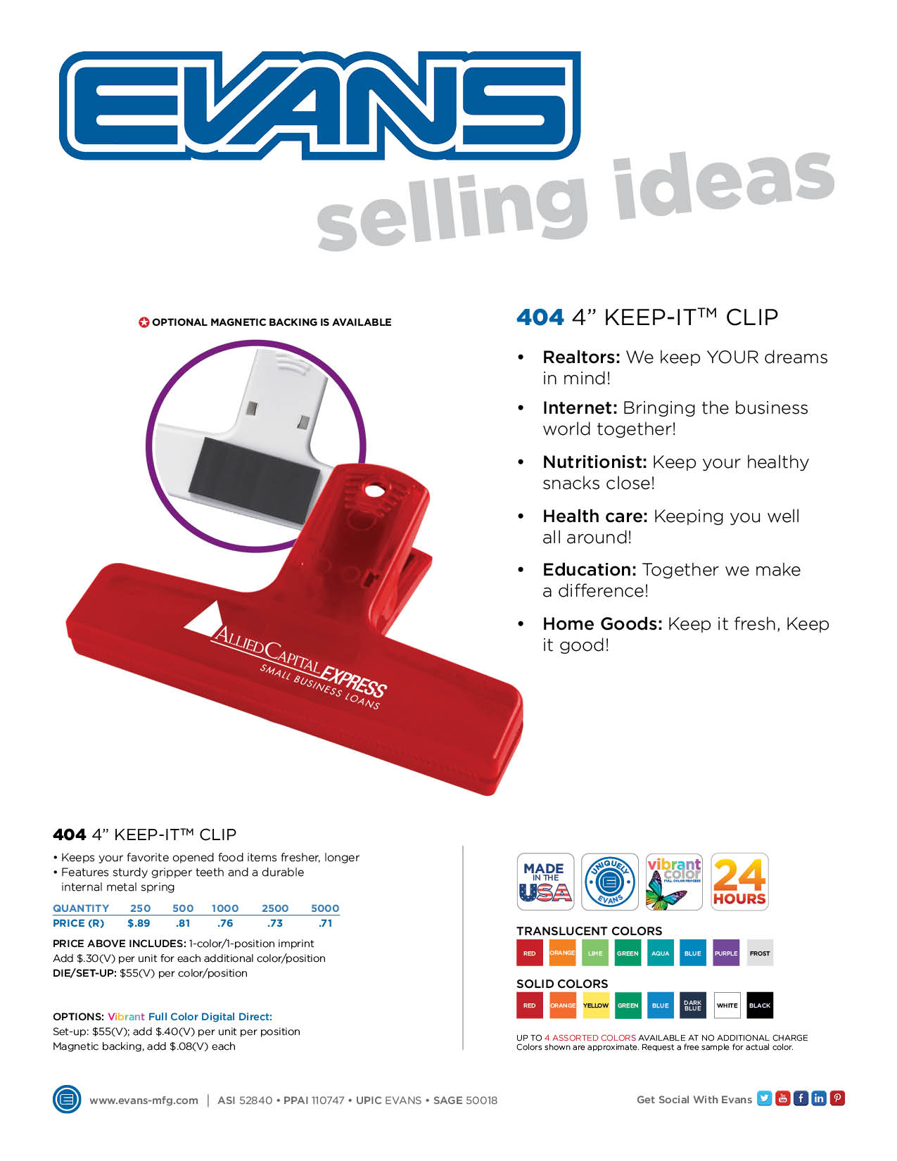 "404  4"" Keep-It™ Clip"