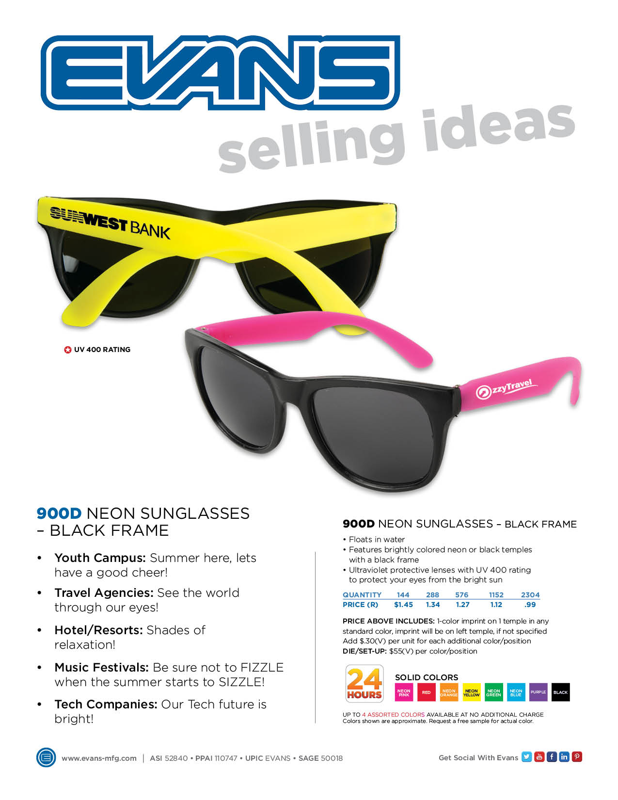 900D Neon Sunglasses - Black Frame