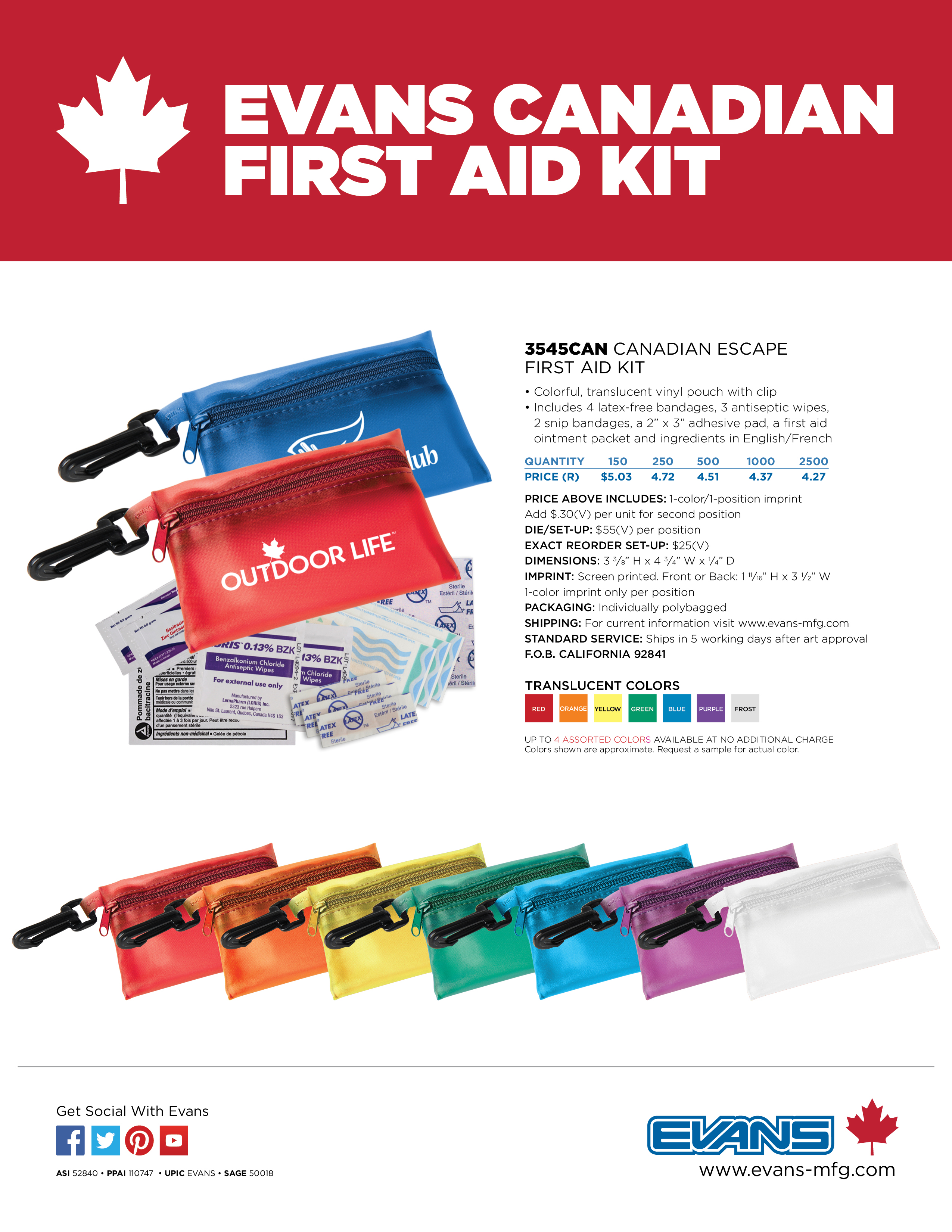 3545CAN Canadian Escape First Aid Kit