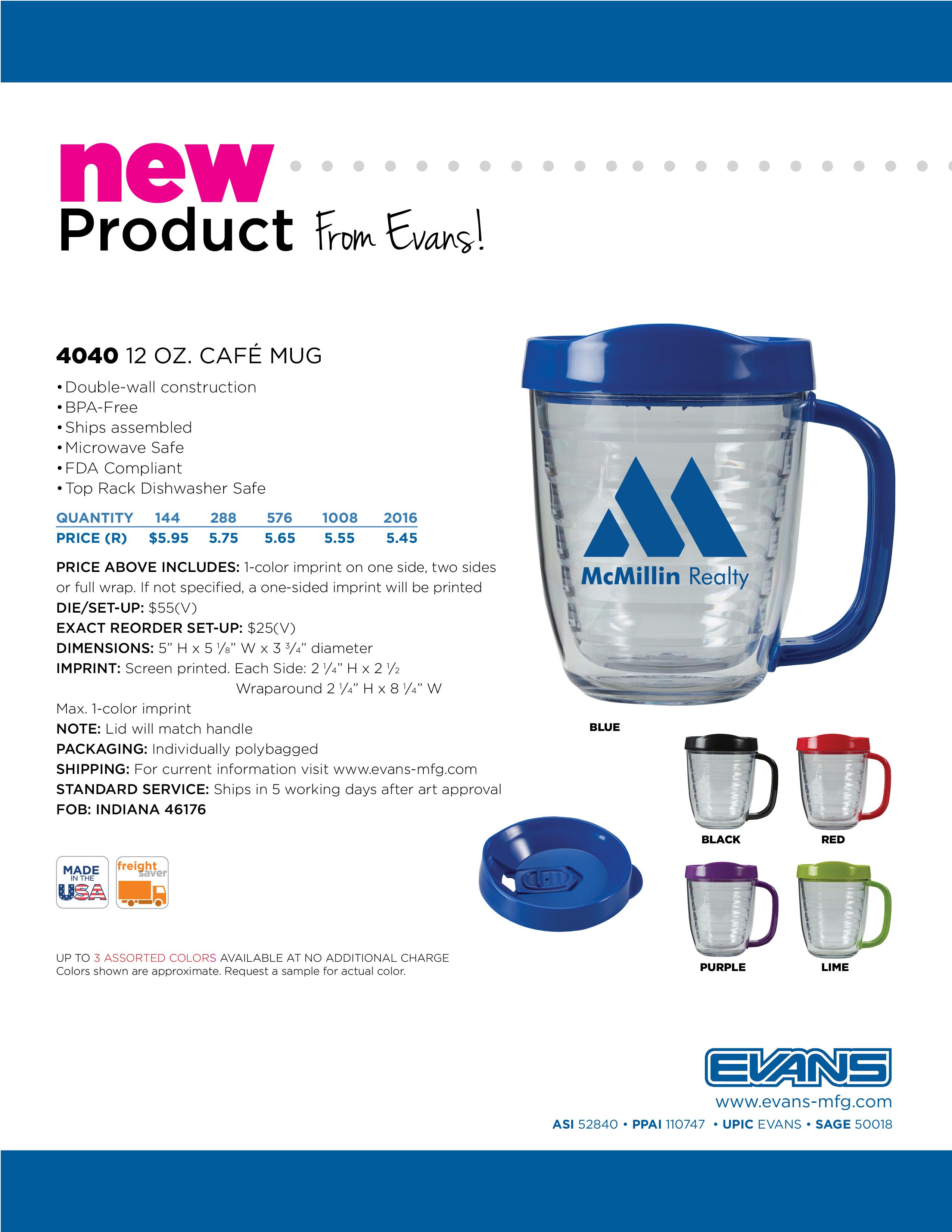 4040 12 oz. Cafe Mug