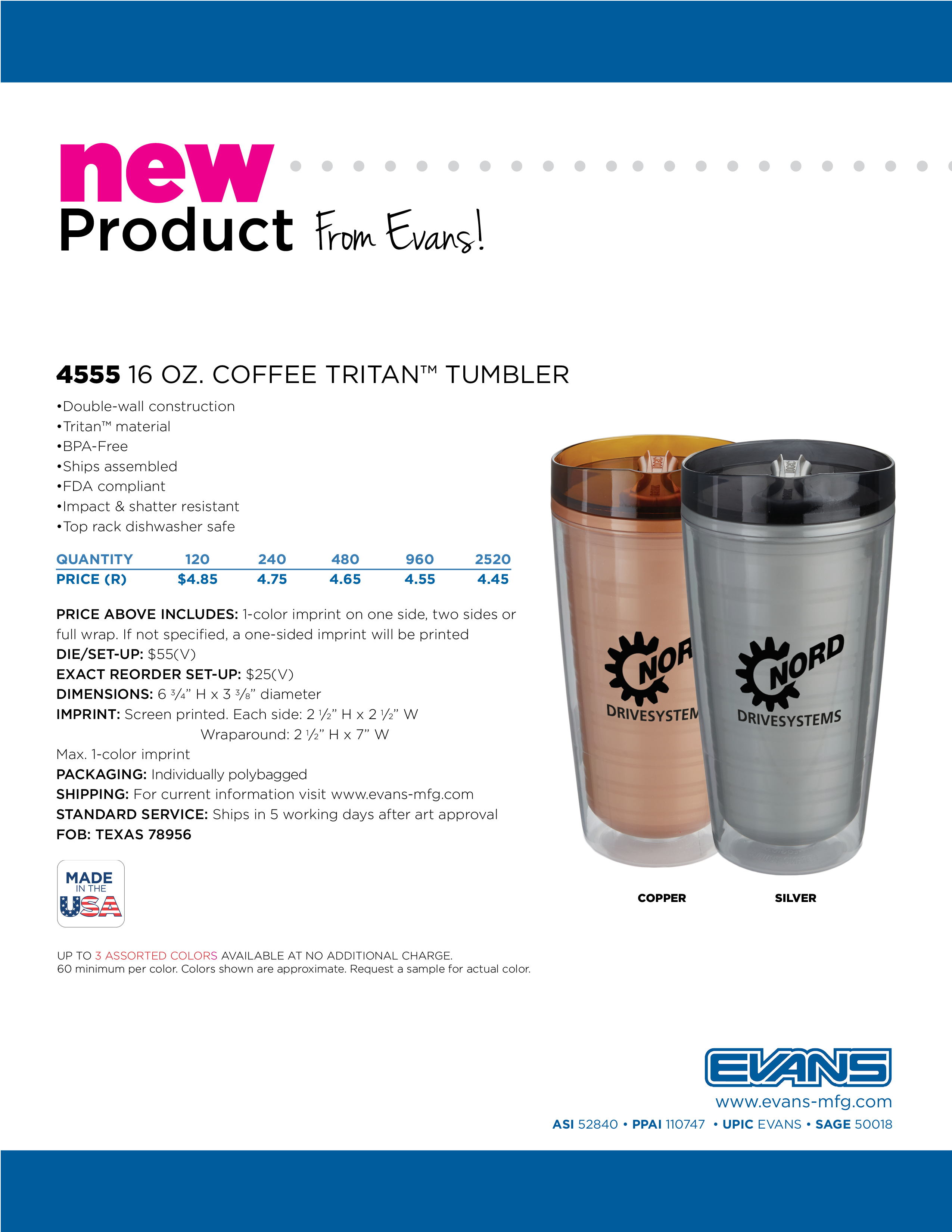 4555 16 oz. Coffee Tritan Tumbler