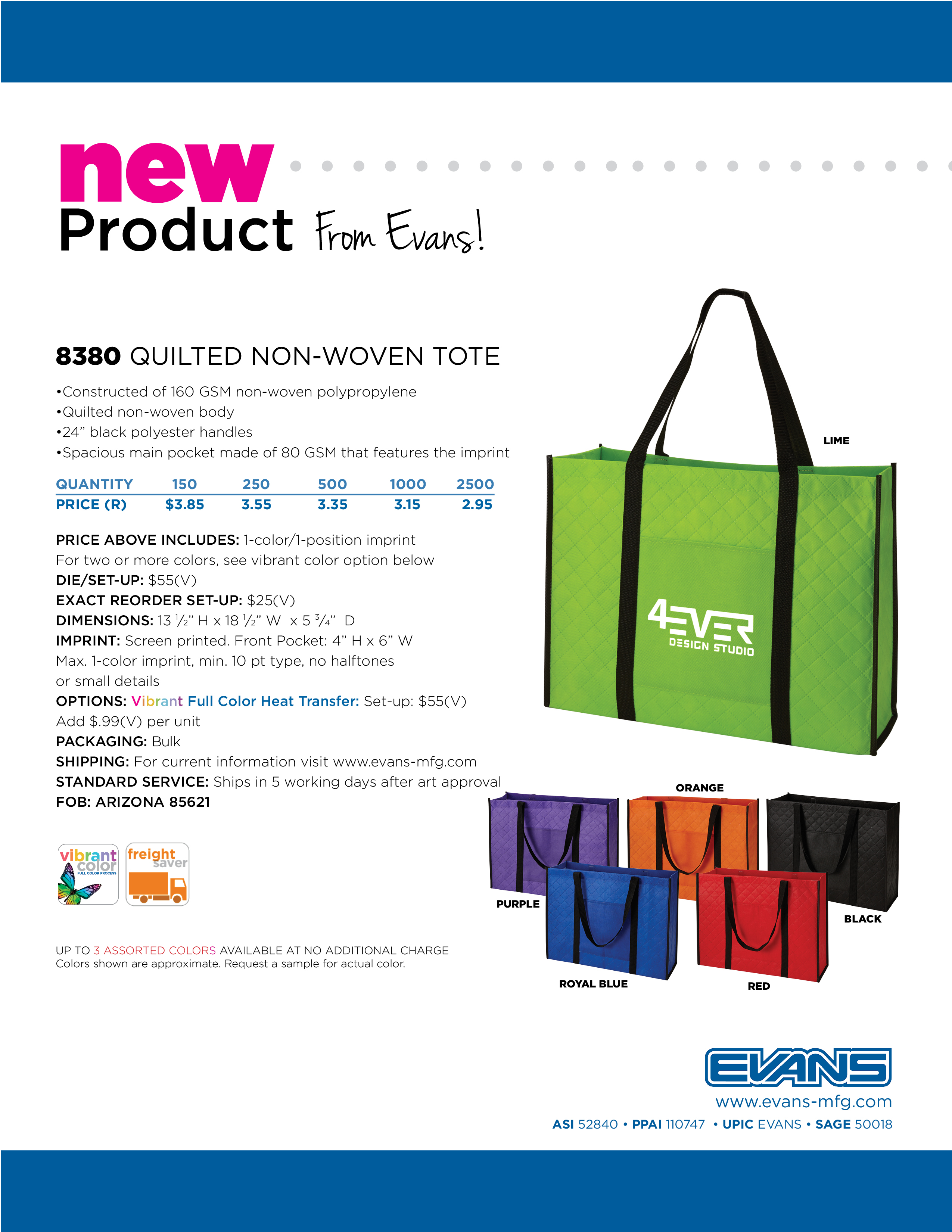 8380 Quilted Non-Woven Tote