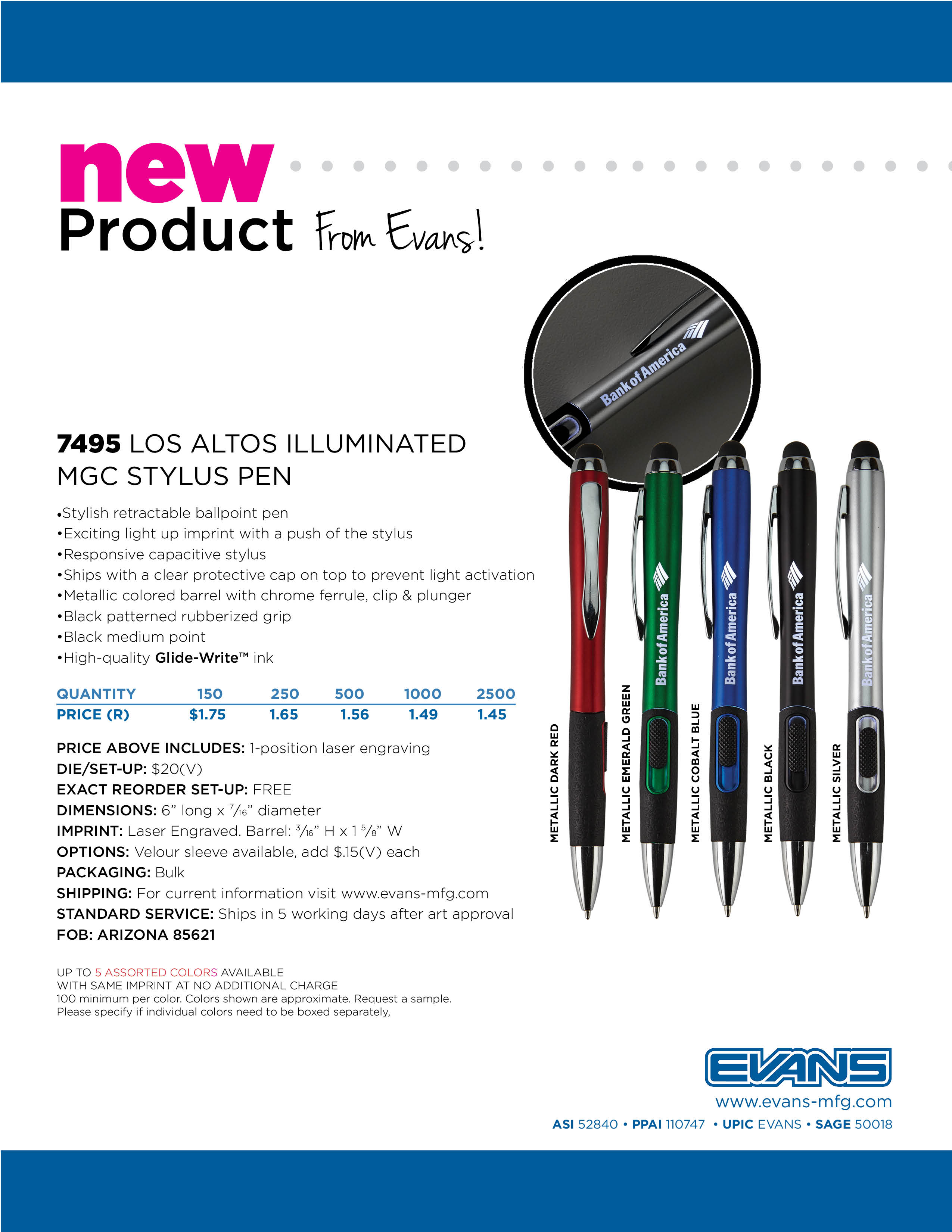 7495 Los Altos Illuminated MGC Stylus Pen