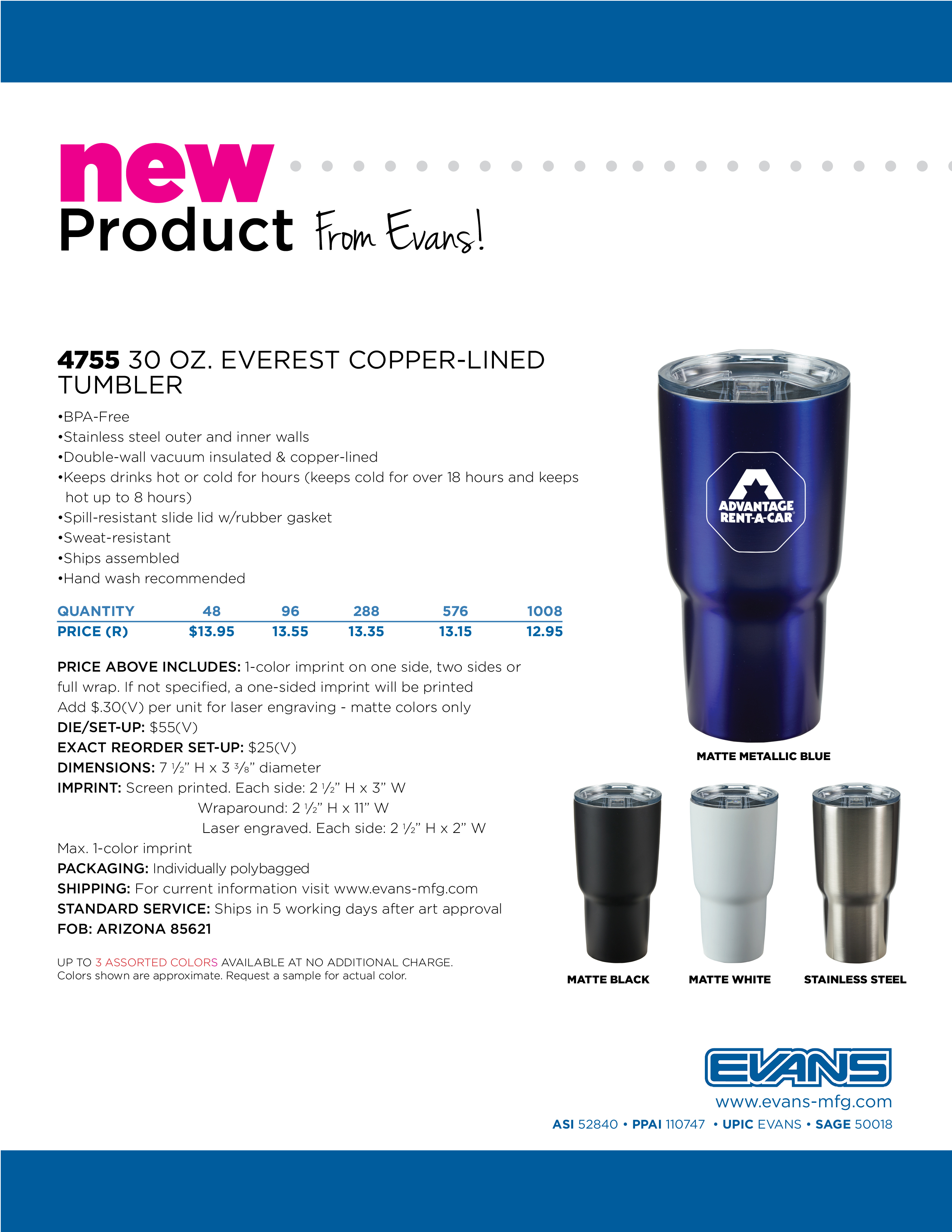 4755 30 oz. Everest Copper-Lined Tumbler