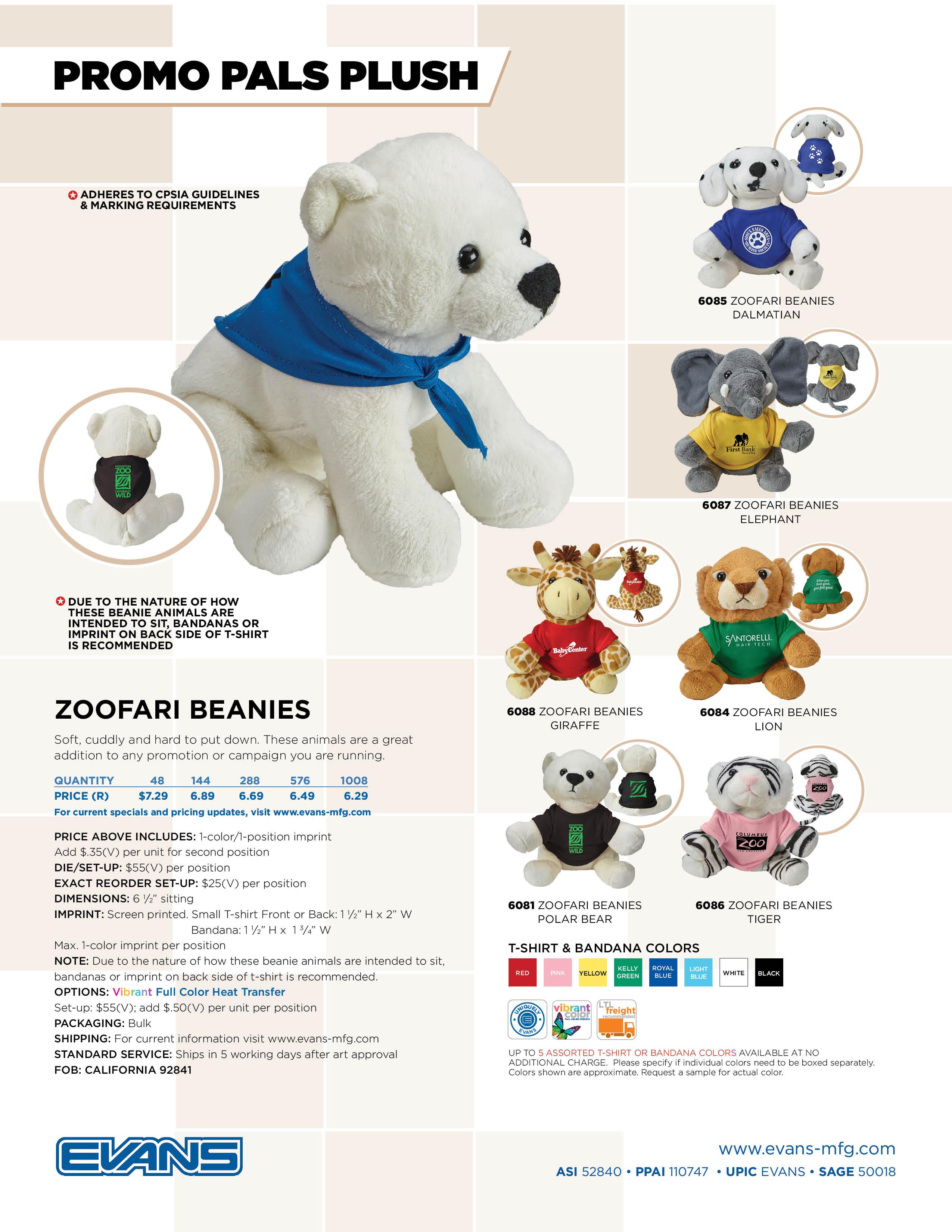 Zoofari Beanies - Promo Pals Flyer
