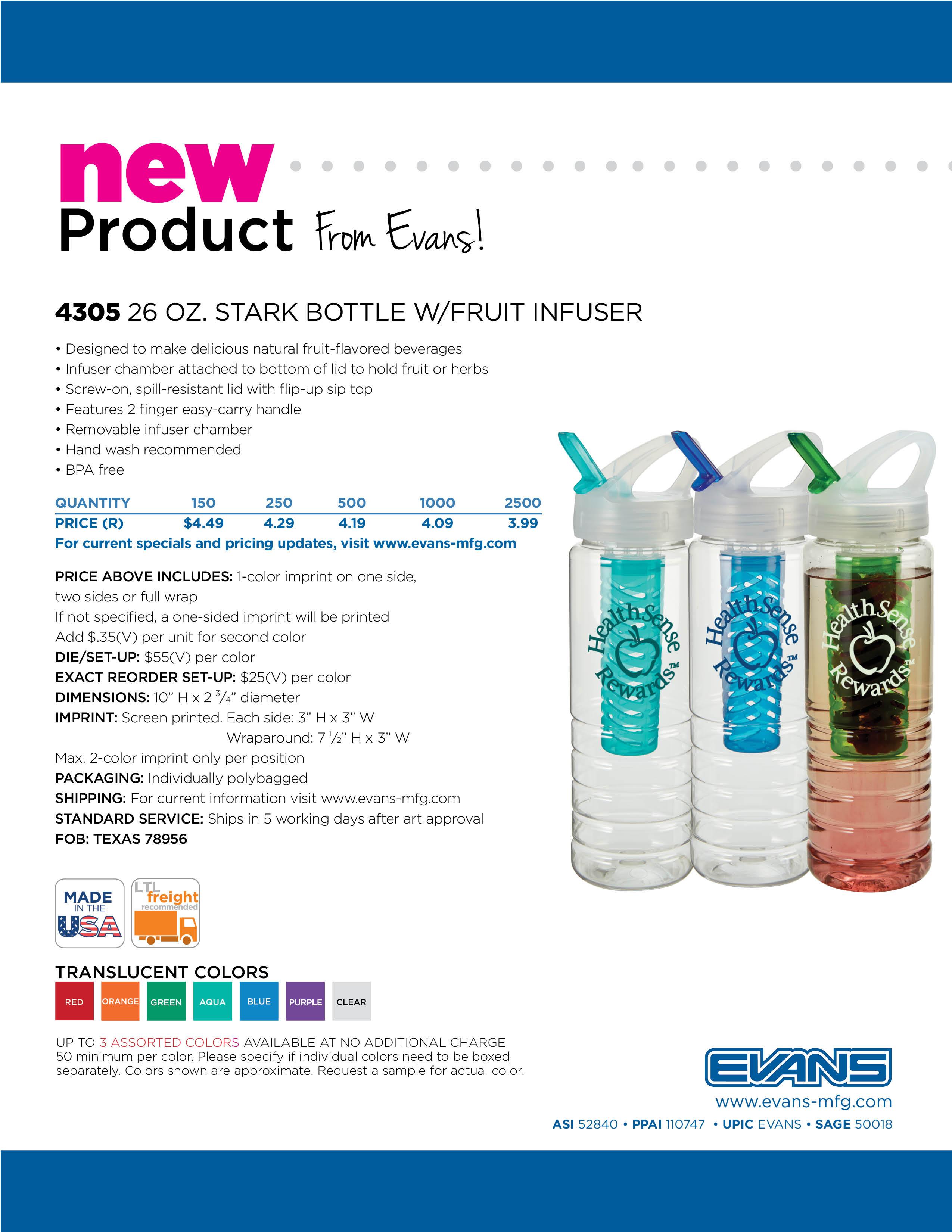4305 26 oz. Stark Bottle w/Fruit Infuser