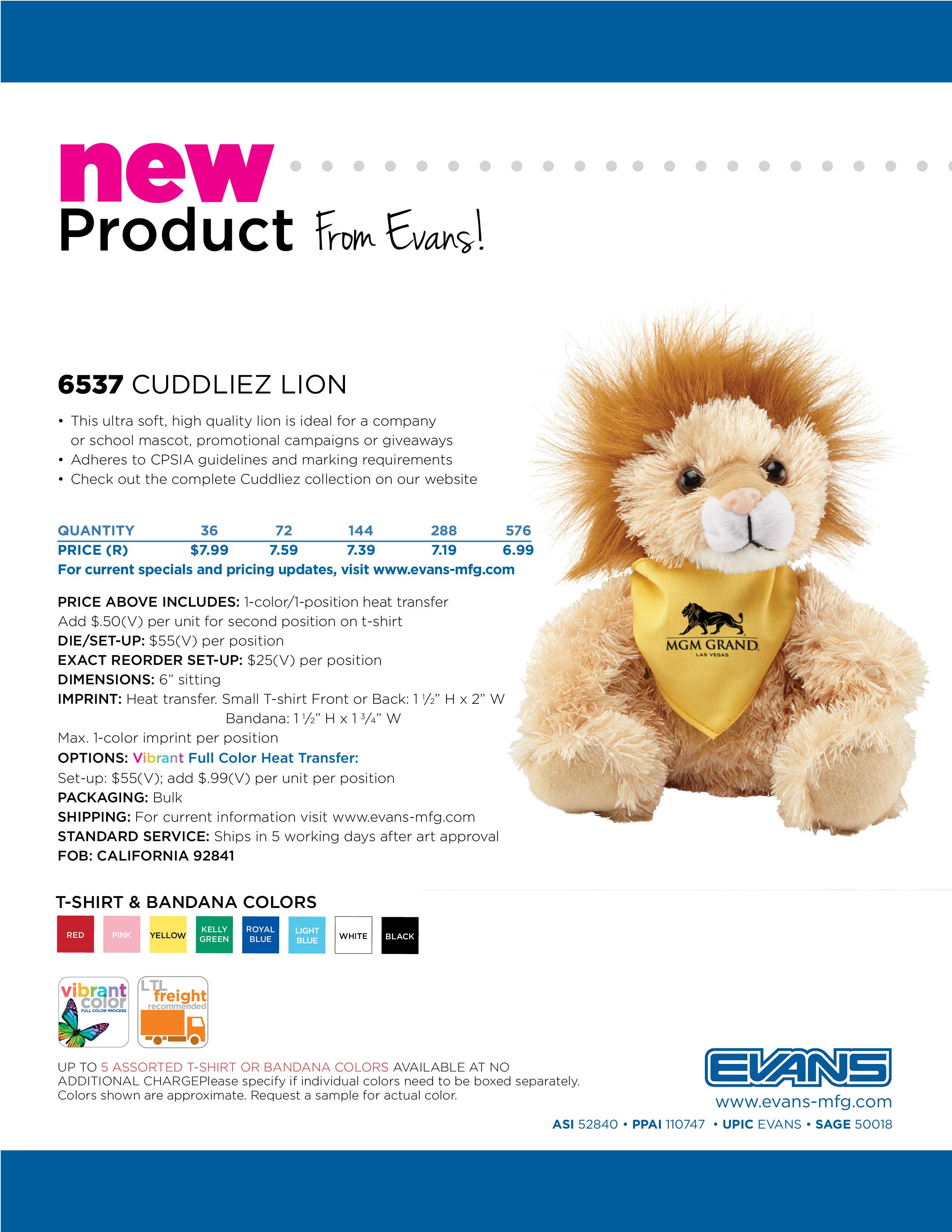 6537 Cuddliez Lion