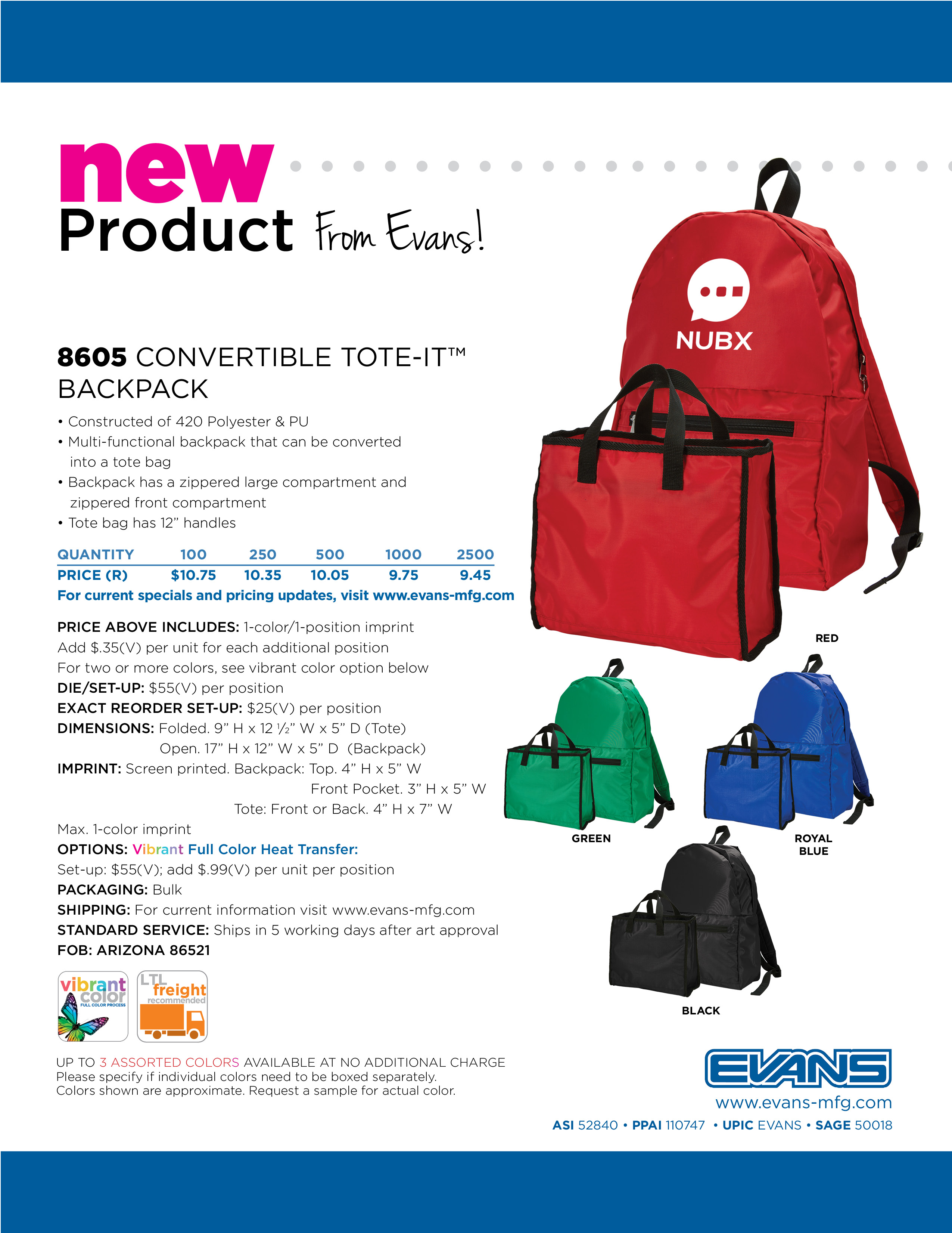 8605 Convertible Tote-It™ Backpack