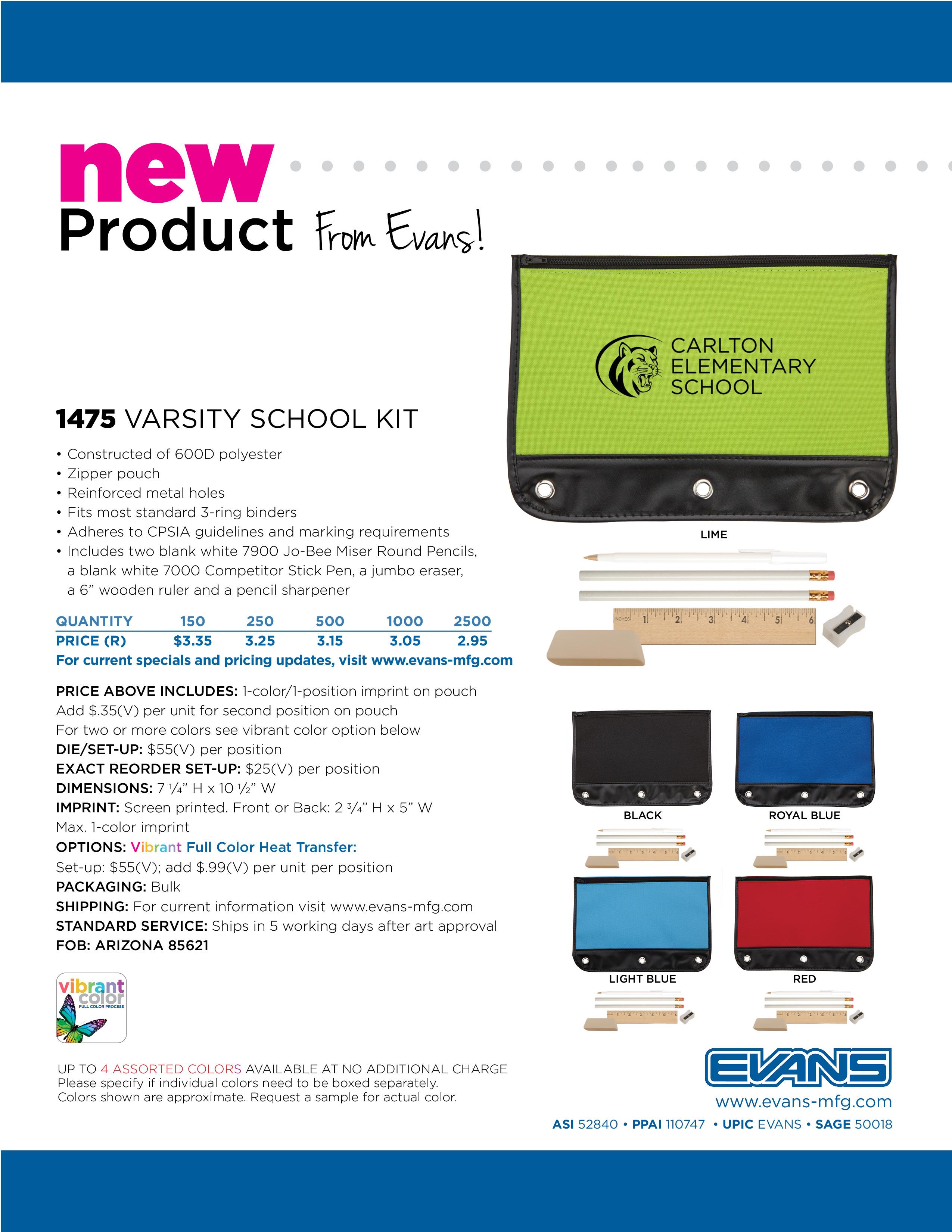 1475 Varsity School Kit