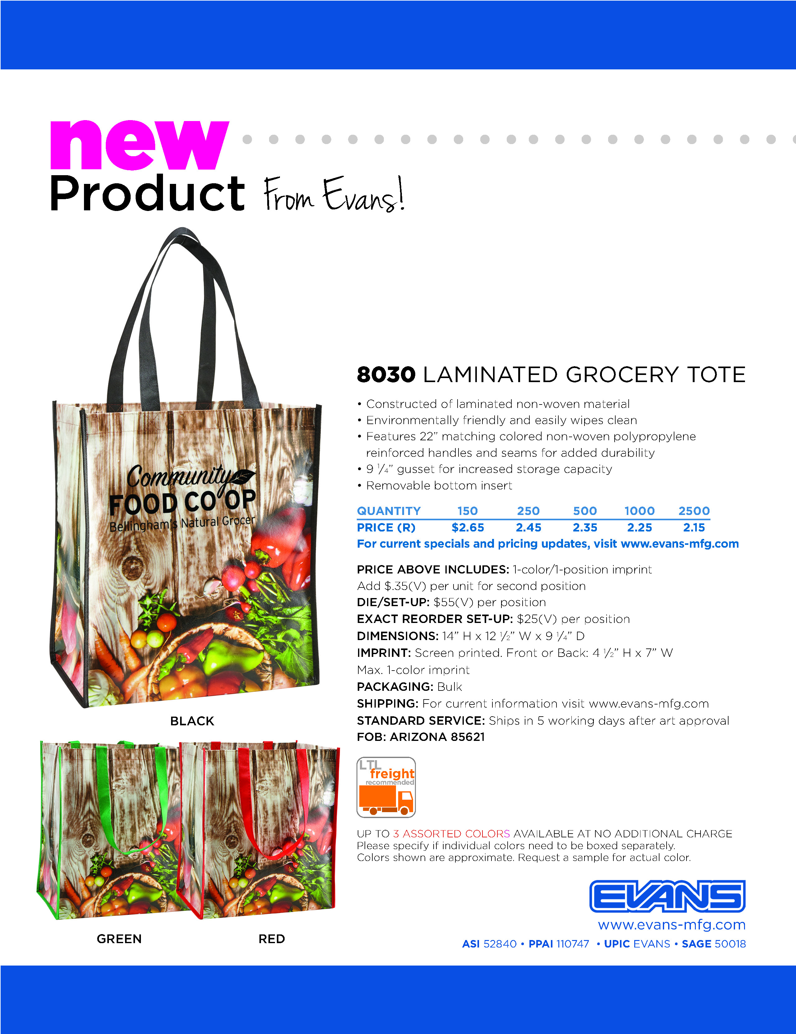 8030 Laminated Grocery Tote