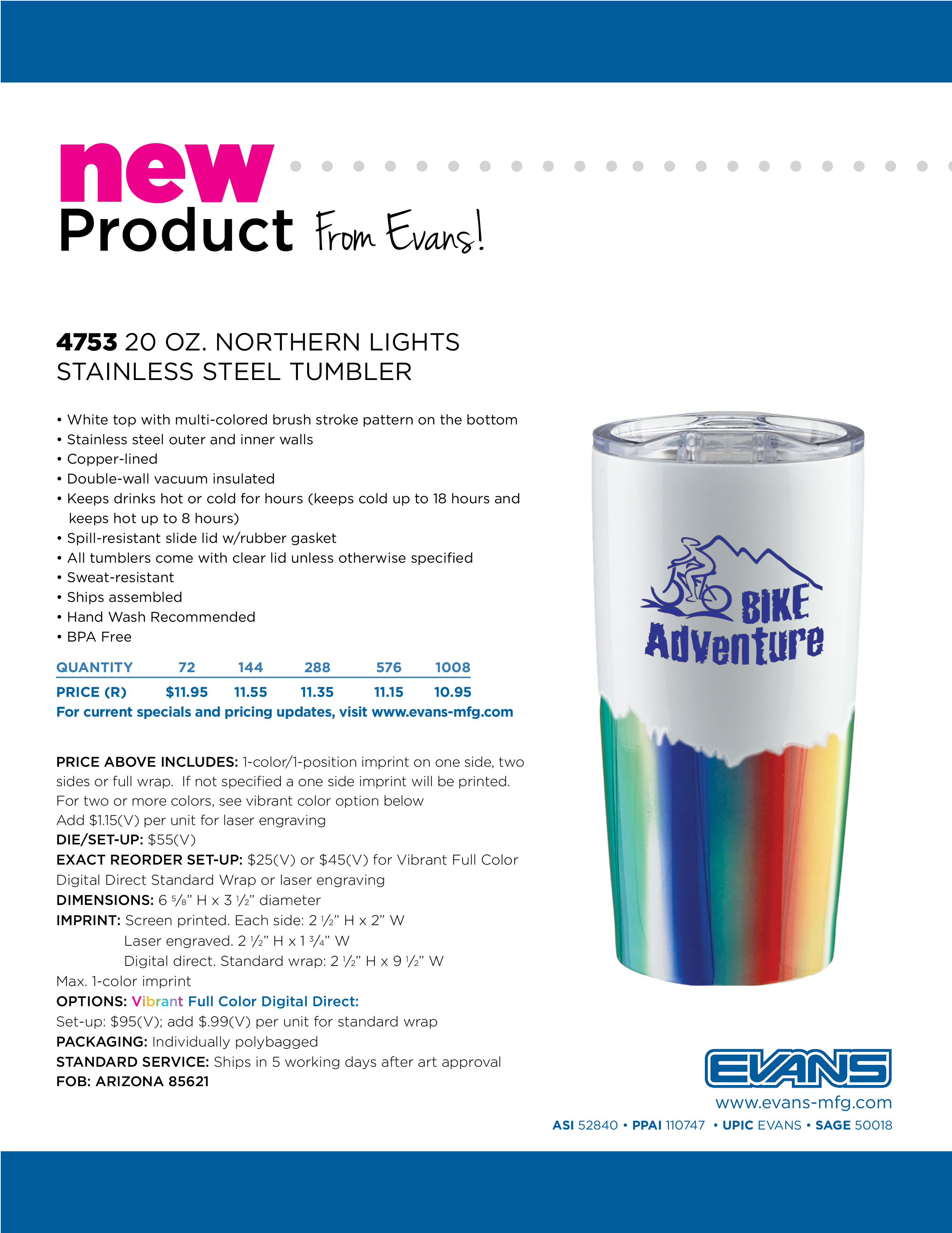 4753 20 oz. Norther Lights Stainless Steel Tumbler