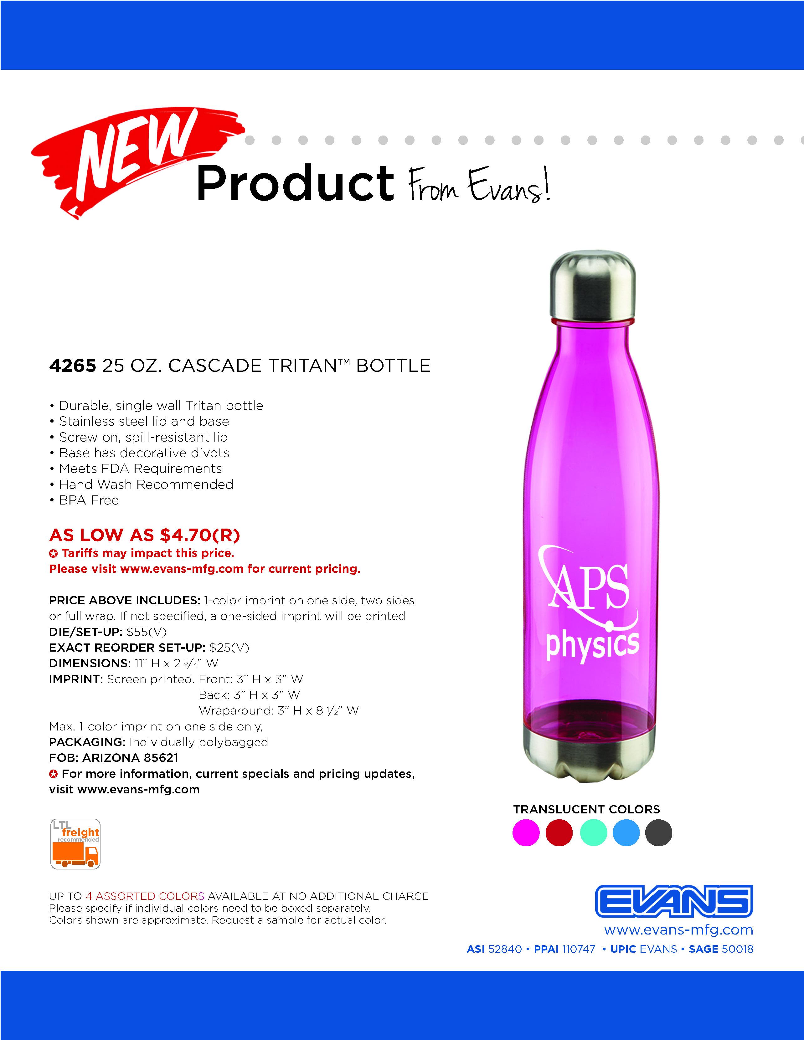 4265 25 oz. Cascade Tritan™ Bottle