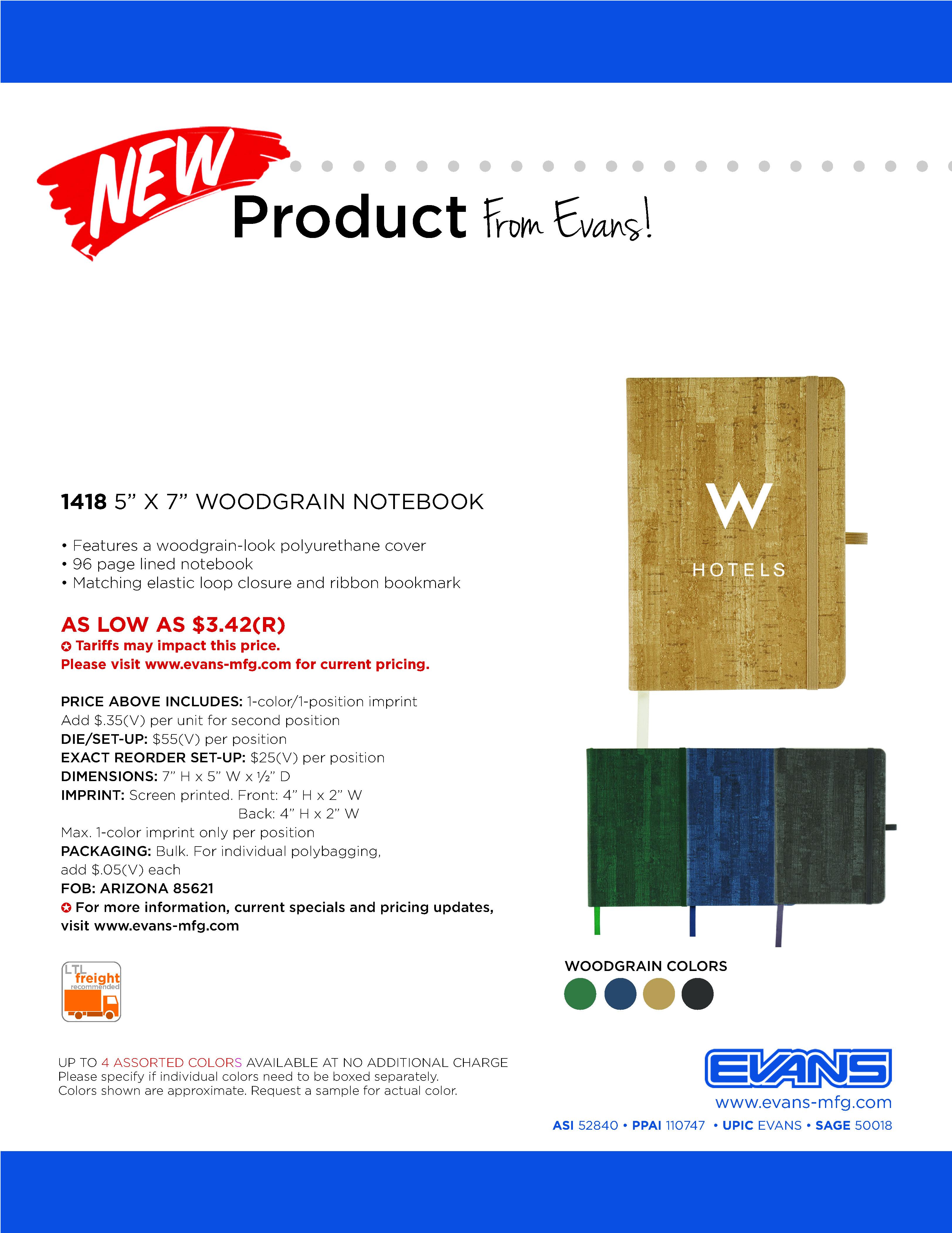 "1418 5"" x 7"" Woodgrain Journal"