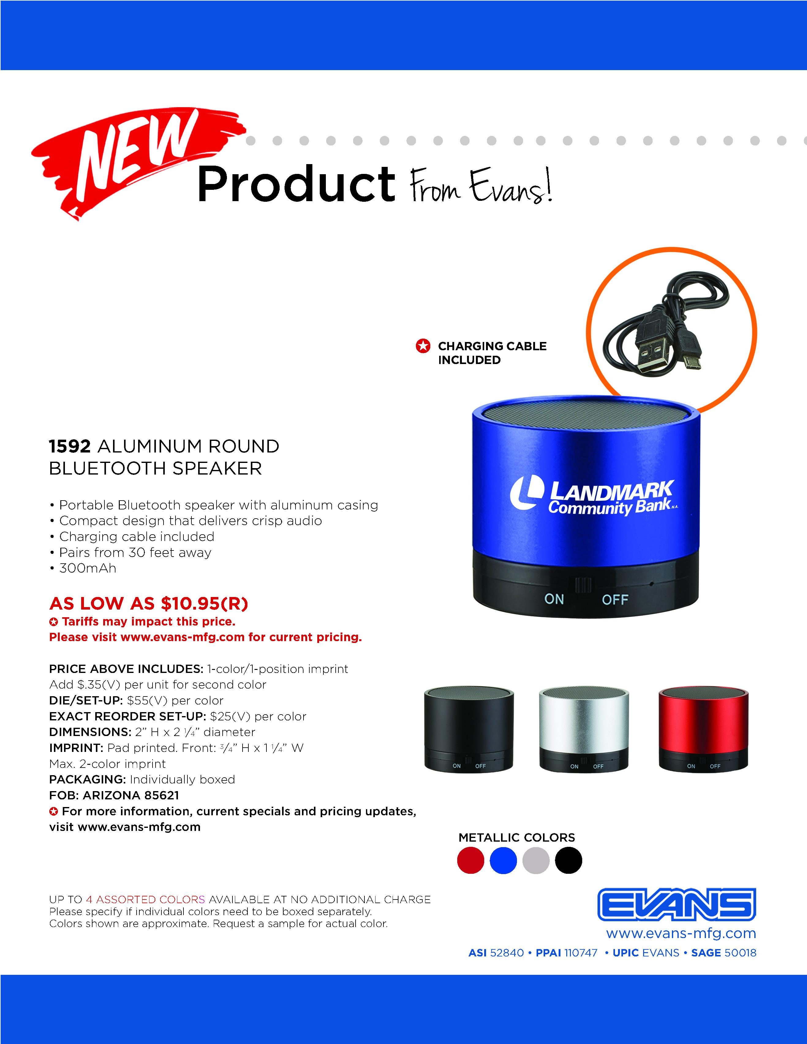 1592 Aluminum Round Bluetooth Speaker