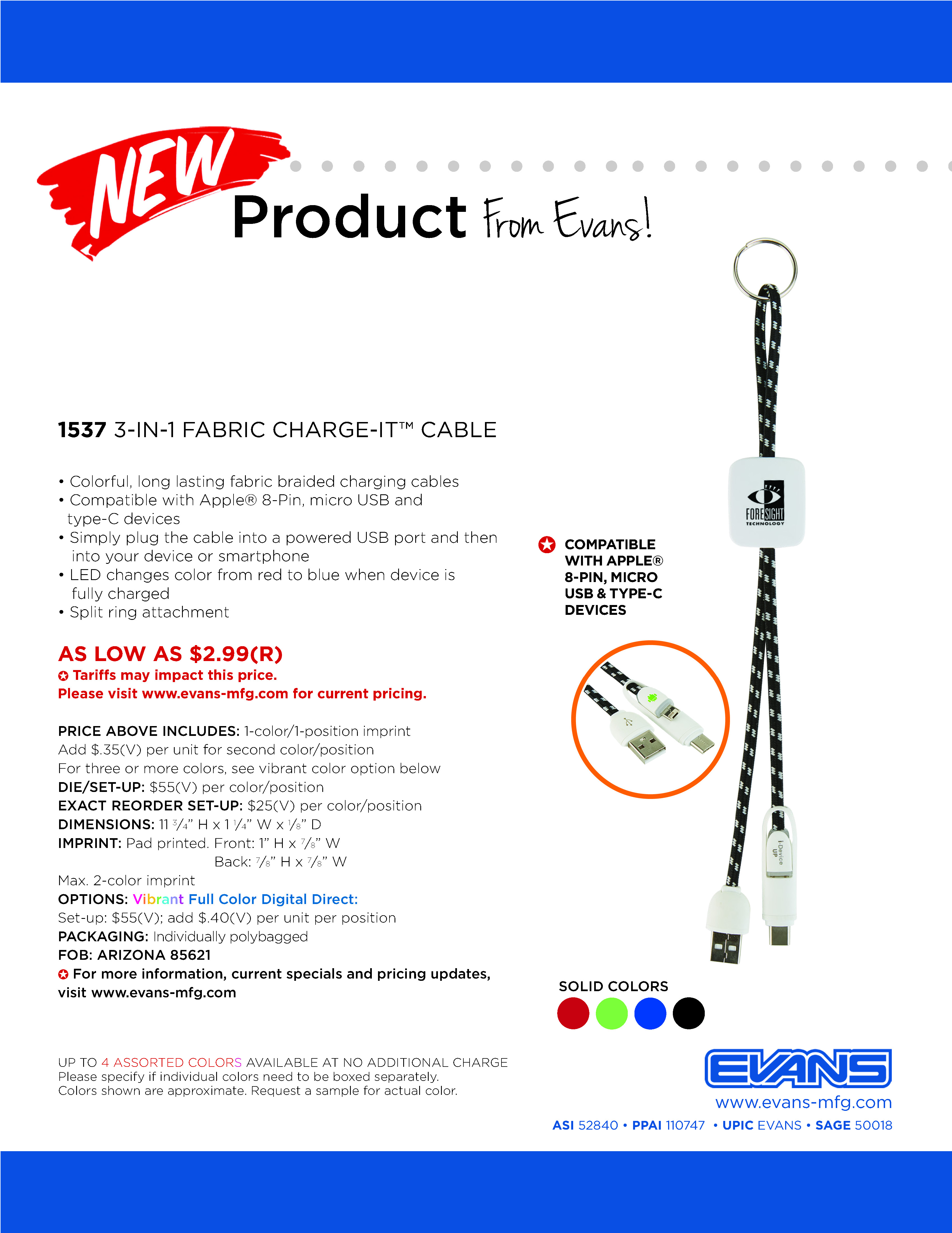 1537 3-in-1 Fabric Charge-It™ Cable