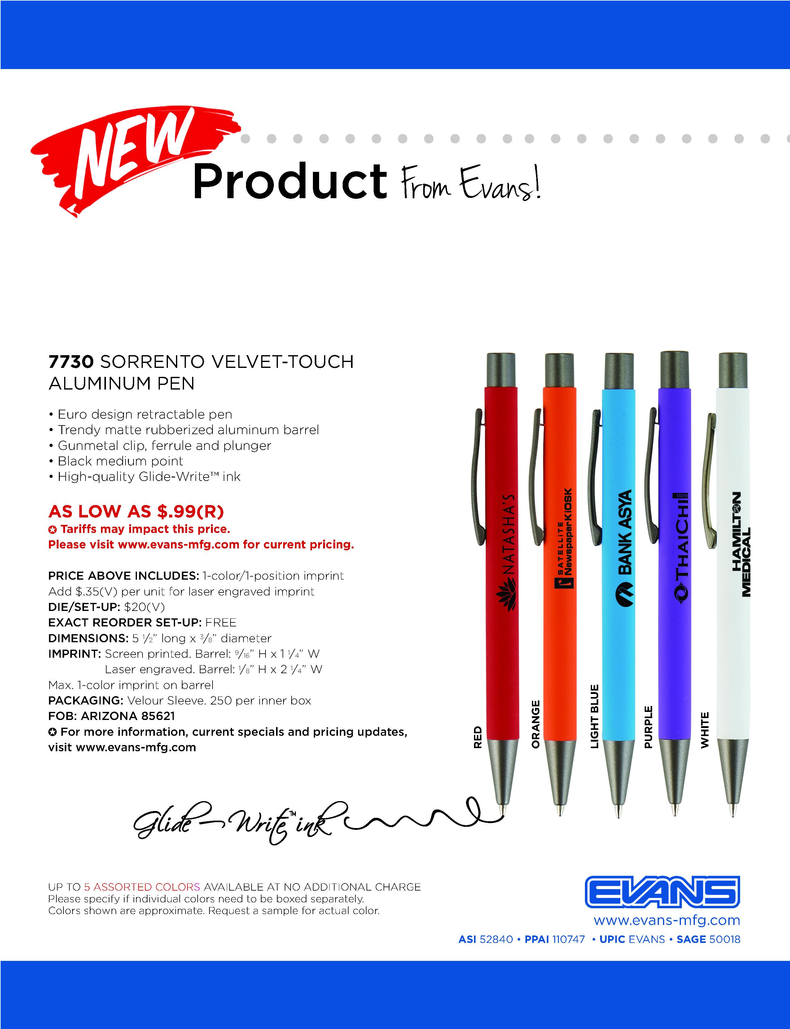 7730 Sorrento Velvet-Touch Aluminum Pen