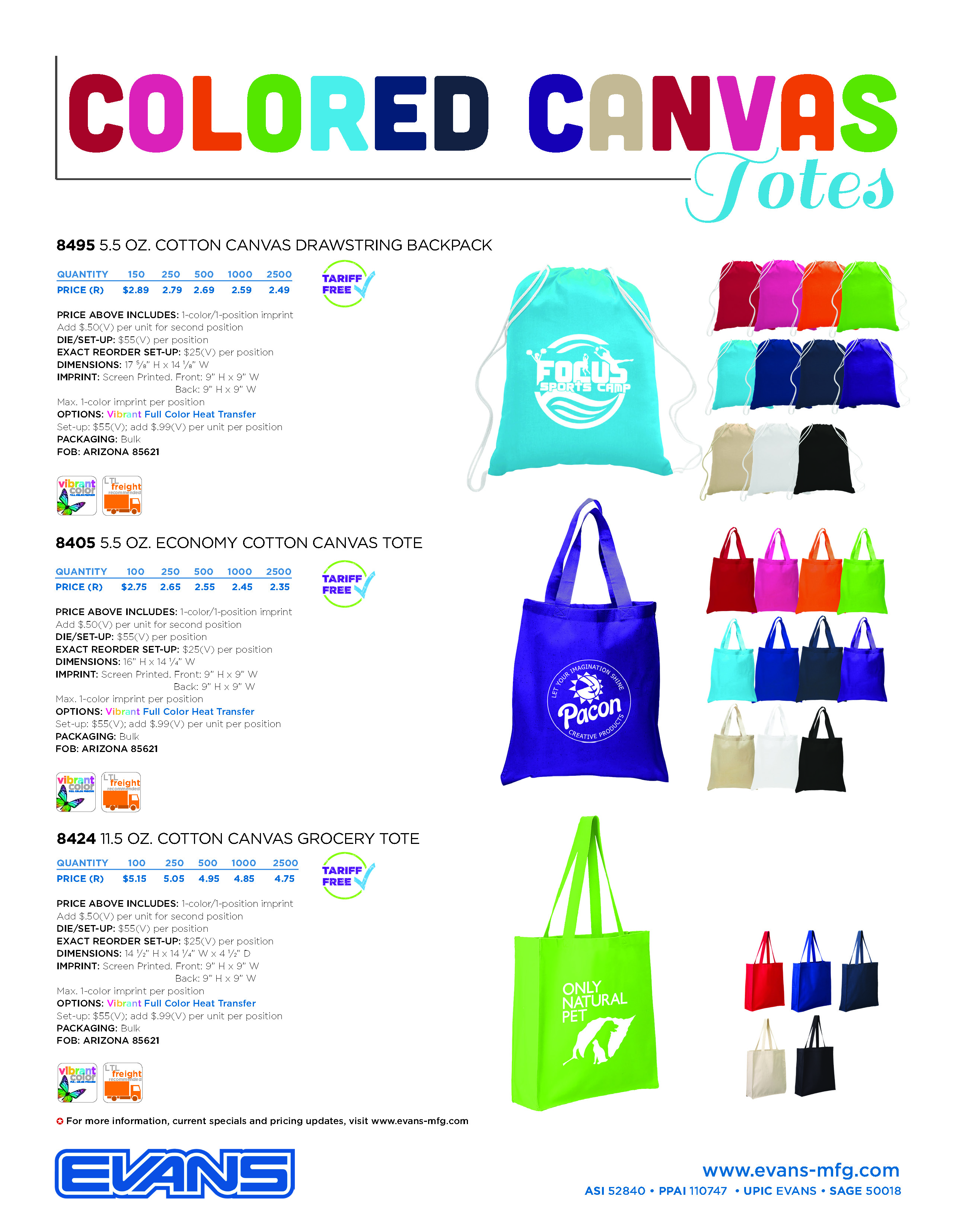 Colored Canvas Totes