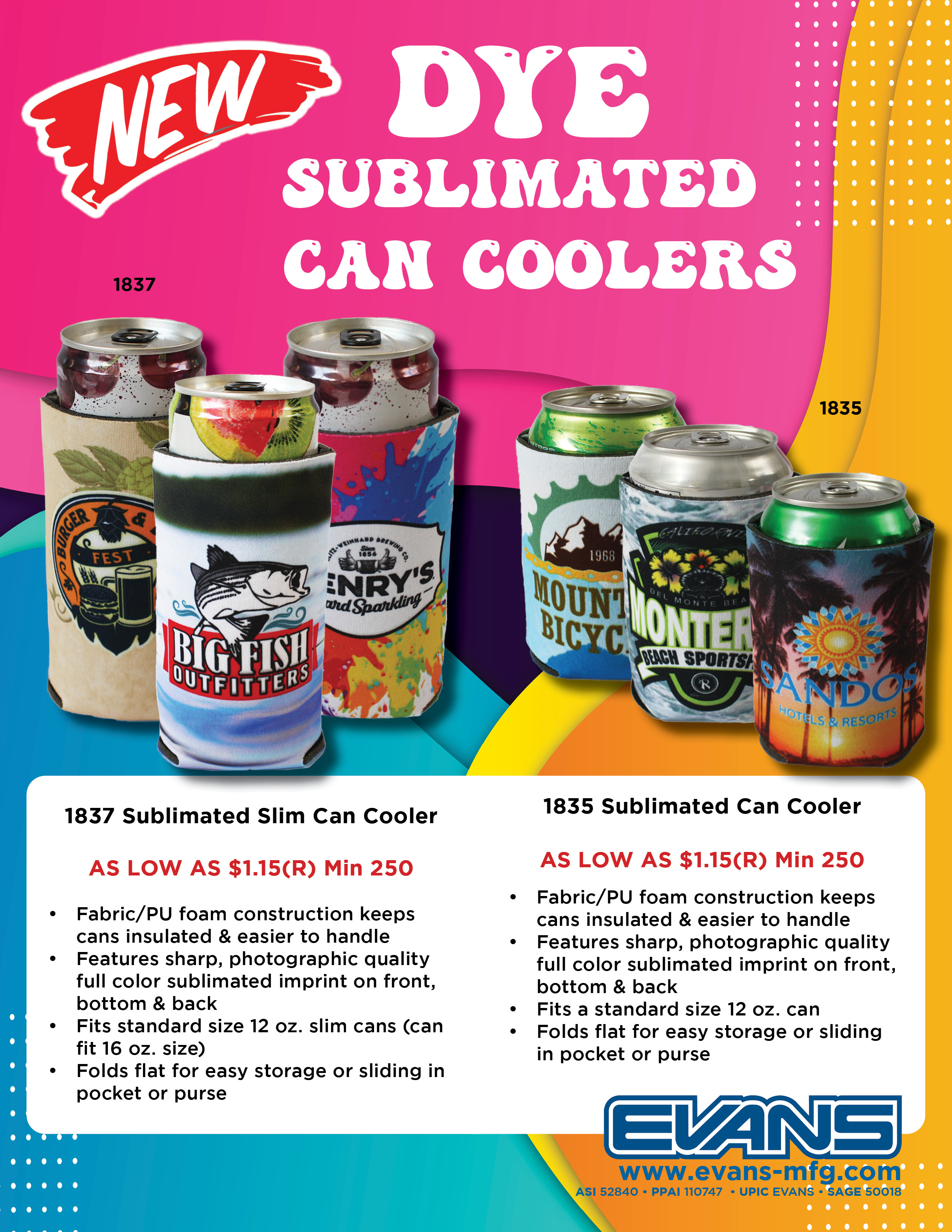 sublimated can coolers